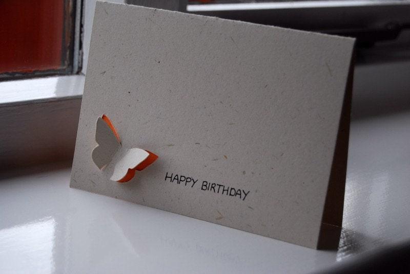 Happy Birthday Butterfly 3D Orange