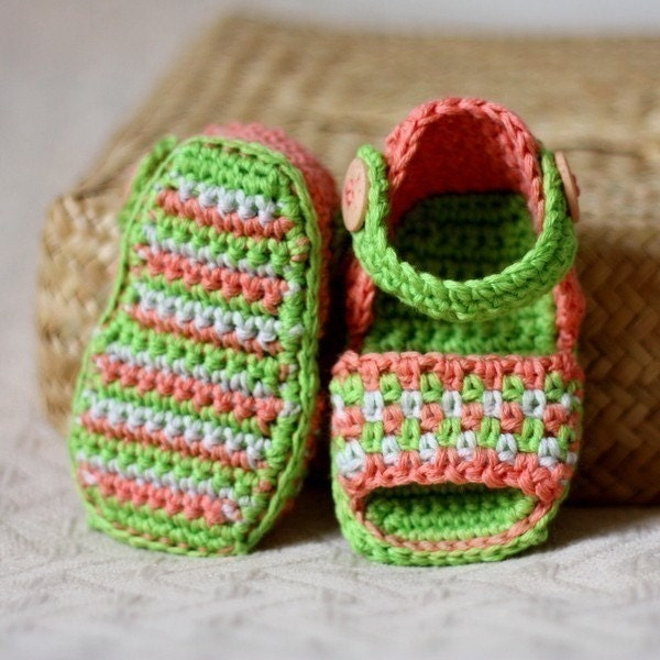 Crochet PATTERN (pdf file) - Multi-coloured Sandals