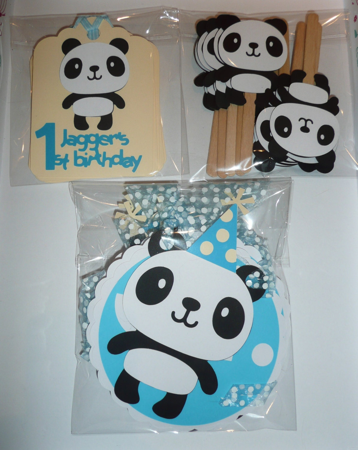 Panda party pack personalised decorations by for Baby shower decoration packs