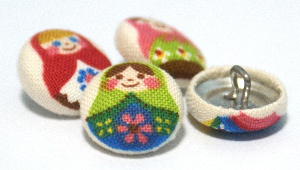 Adorable Tiny Matryoshka Dolls on White - Mini Fabric Sew On Buttons