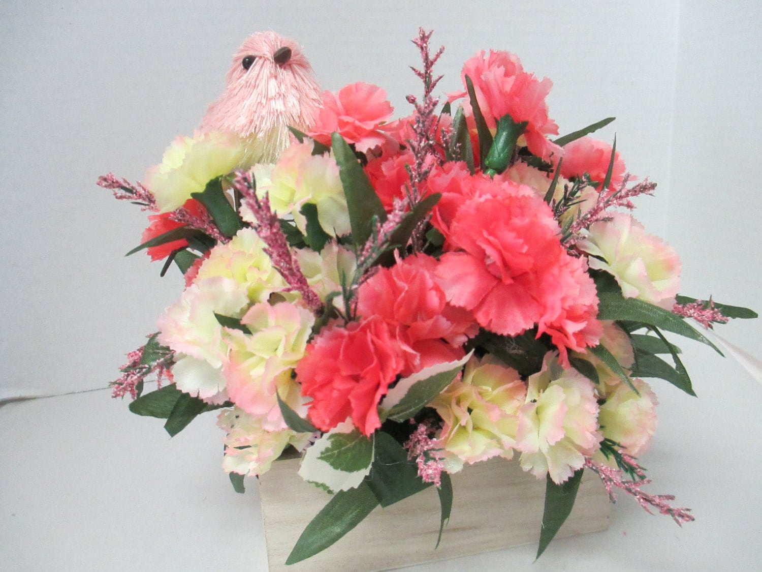Small Pink Floral arrangement with a pink fiber bird in a wooden box . ooak - thefeathermerchant2
