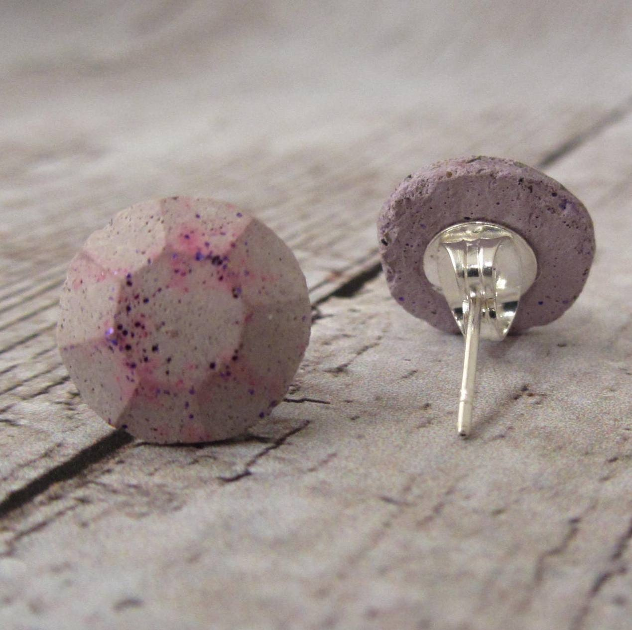 Concrete Pale Lavender post Earrings Hot Pink Oxidized Glitter Exposed Concrete Stud Earring Faceted Gem/Jewel Aromatherapy - Terraromarific