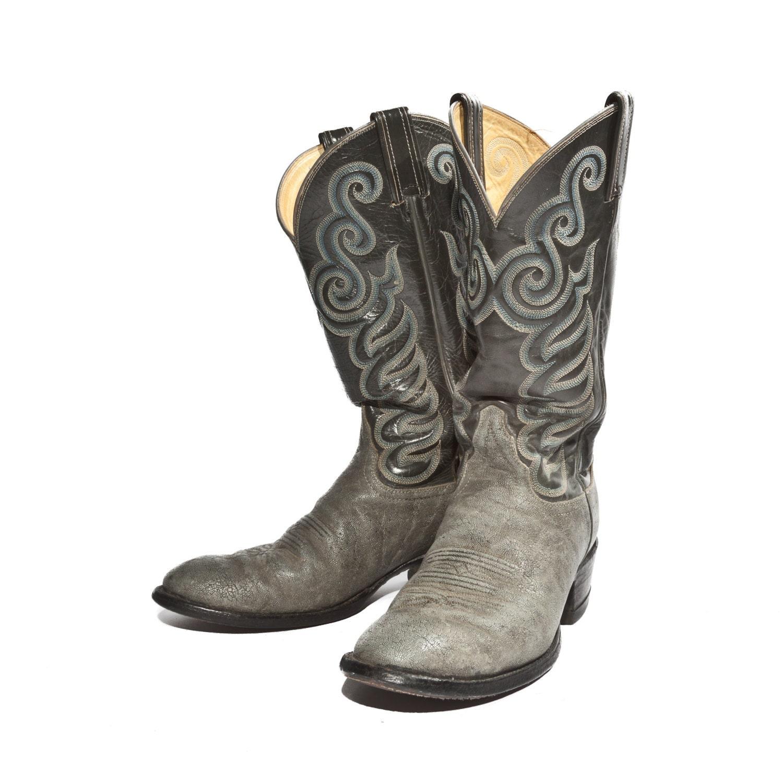 Tony Lama Cowboy Boots Elephant Skin Gray with Blue Fancy Western Stitch Men size 8 1/2 D - RabbitHouseVintage