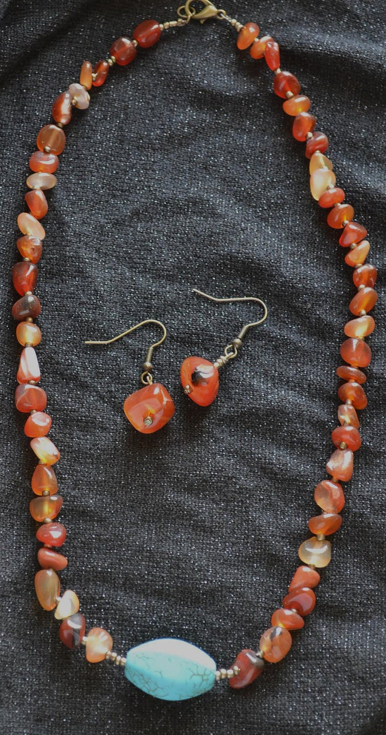 Red Agate and Dyed Magnesite Necklace and Earring Set