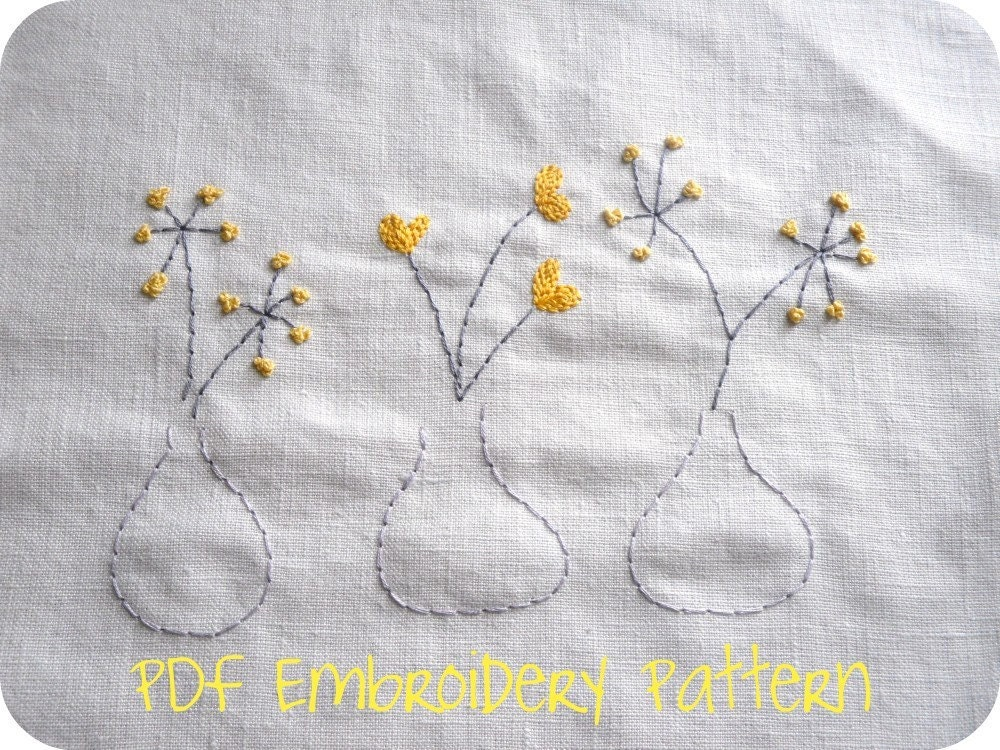Modern blooms embroidery patterns and cross by thesplitstitch