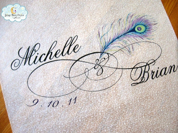 Peacock Wedding Aisle Runner with Original Hand Drawn Artwork
