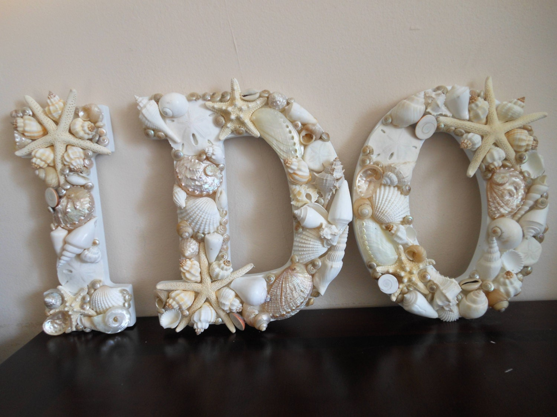 Beach wedding decor seashells seashell letters beac for Seashell decor