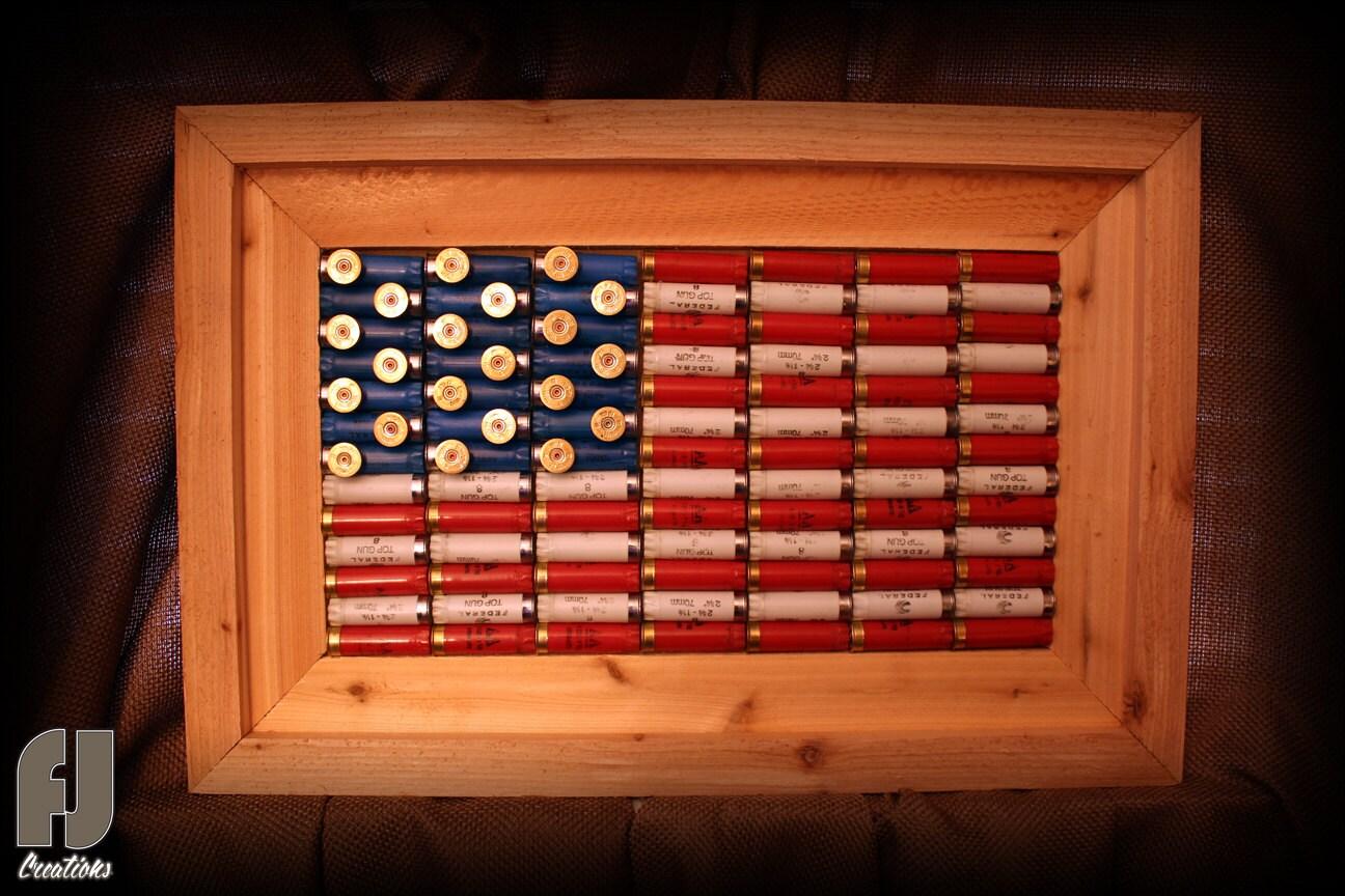 Shotgun Shell American Flag Decor Cedar Framed By Fjcreations