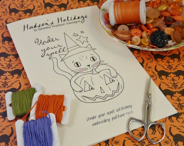 Halloween Witch Cat pumpkin Stitchery E Pattern - embroidery 2012 Pdf Under your spell kitty prim primitive