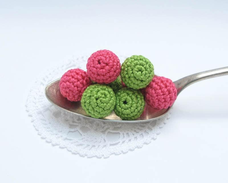 Mix of Crocheted Beads Wild Strawberries and Peas Treasury Pick on Etsy