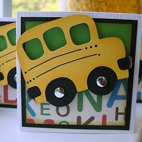 Back to School Mini Note Cards Set of 6 WITH Envelopes