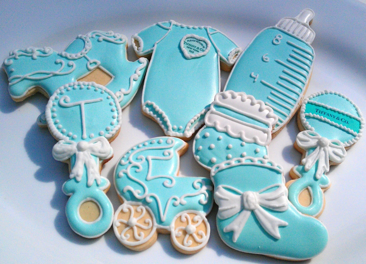 36 tiffany blue baby shower decorated sugar by alissweettooth