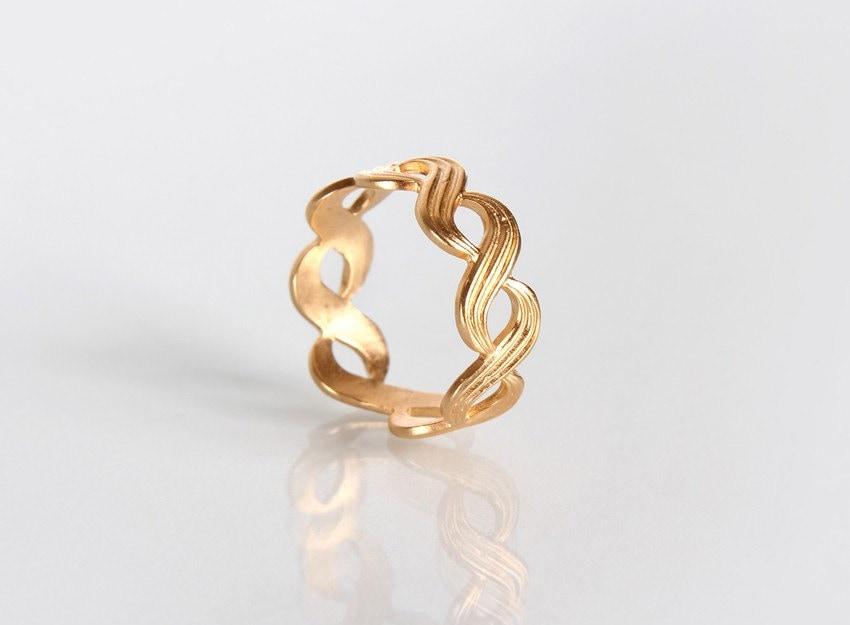 Wide Golden Braid Ring