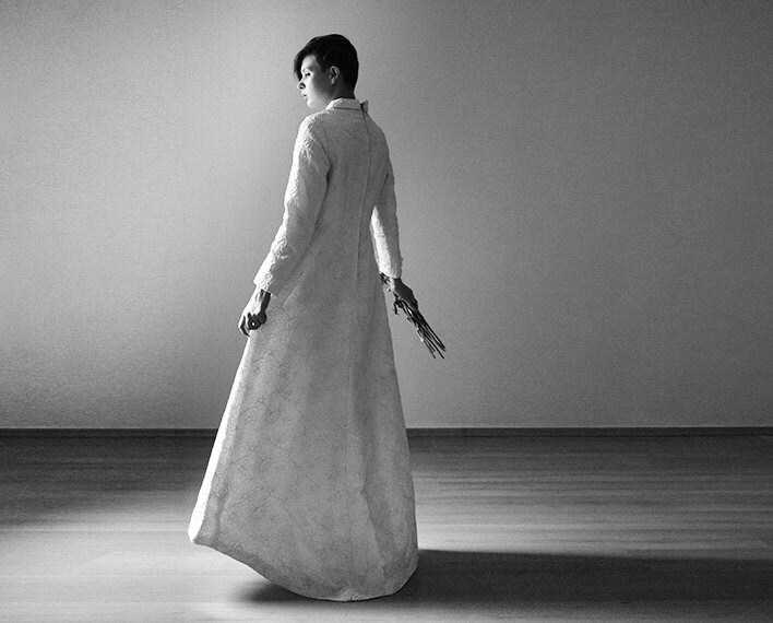 Long sleeve embroidered wedding dress