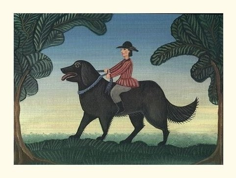 BOY RIDING NEWFOUNDLAND DOG  PRINT Fun Art Poster PRIMITIVE Cute BIG BLACK DOG for Antique to Modern Interiors