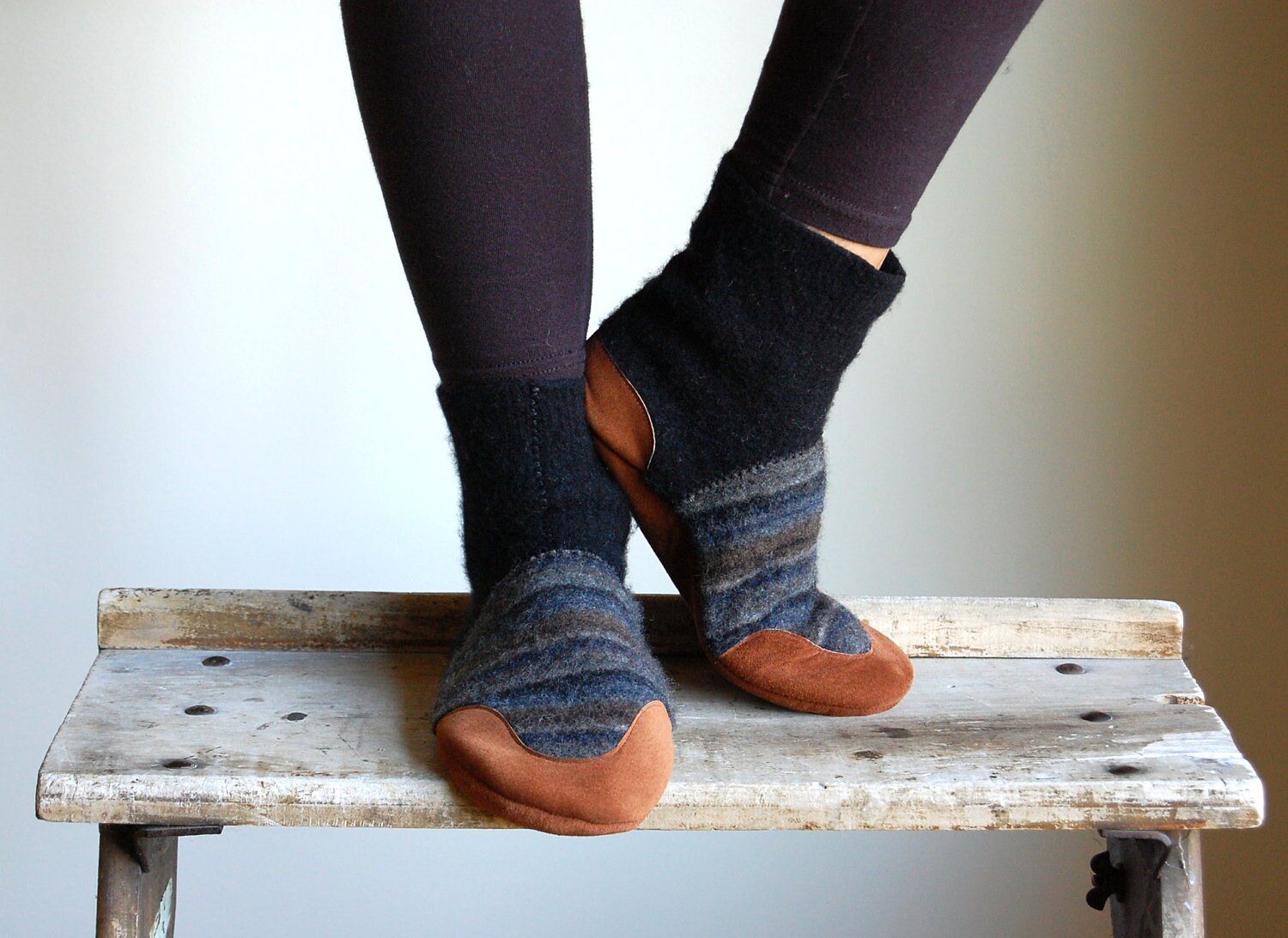 Mens Slippers, Wool & Leather, Eco Friendly, men size 14, Old Friend, SALE - WoolyBaby