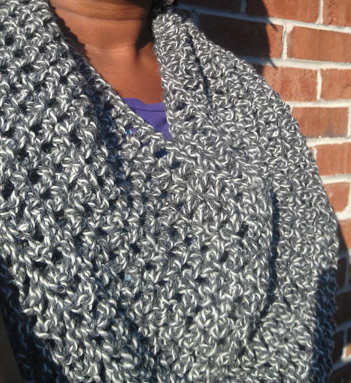 Women's Gray Cowl, Circle Scarf, Infinity Scarf, Crochet