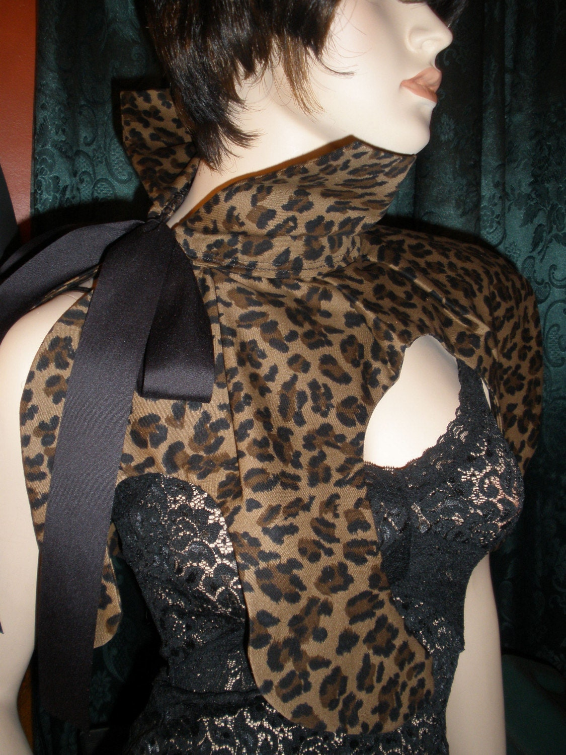Unique Leopard Print Shawl with Black Ribbon Tie