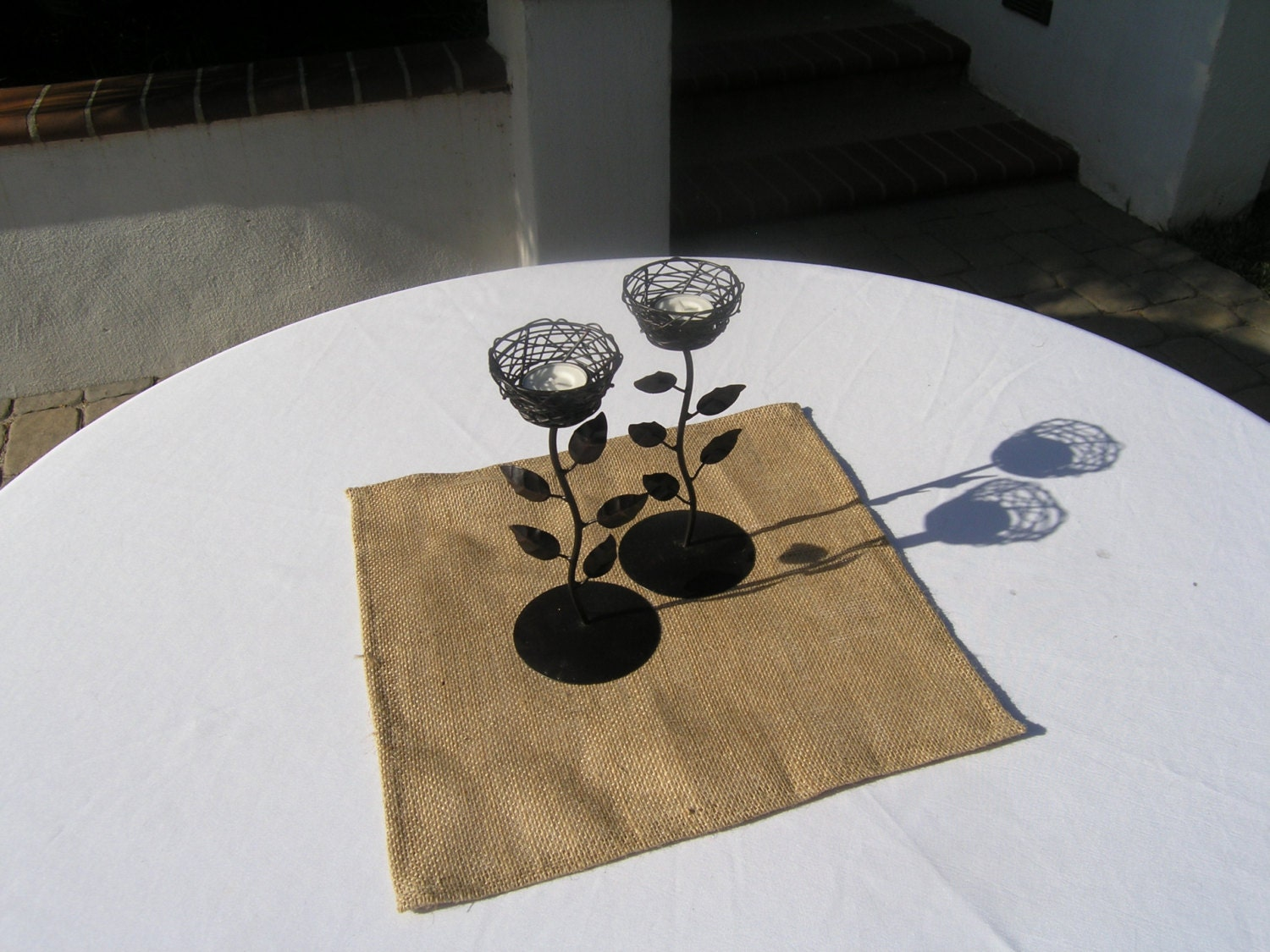 Burlap table square 12 inch square wedding by lolarosedesigns for 12 inch square table