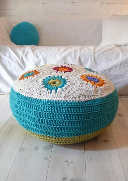 Andar hexágonos Almofada Crochet grandes