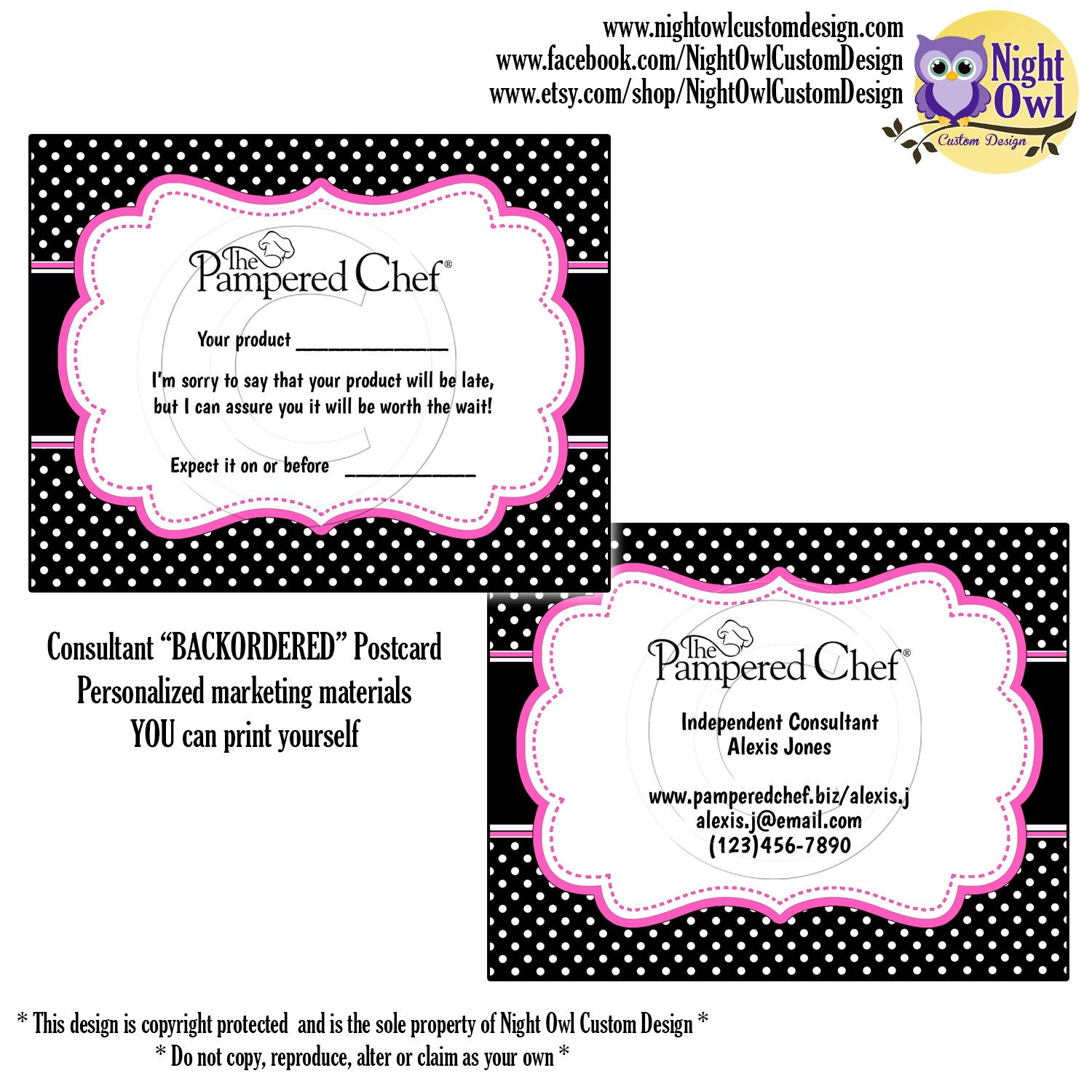 pampered chef consultant postcard by nightowlcustomdesign on etsy. Black Bedroom Furniture Sets. Home Design Ideas