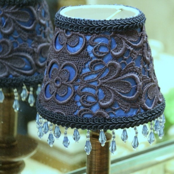 lamp shade dark blue lace on royal blue satin by. Black Bedroom Furniture Sets. Home Design Ideas