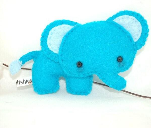 Blue Elephant - Felt Plush