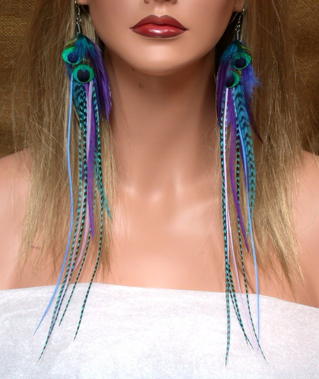 Super Long Peacock Feather Earrings with Blue, Purple and Turquoise  Accents -Ready to Ship