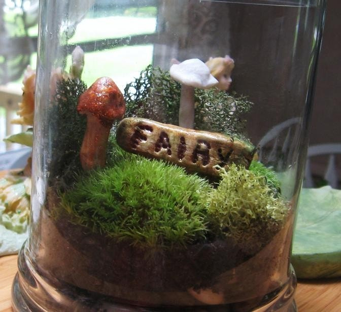 Moss Terrarium , FAIRY Garden in a Jar with Handmade Mushrooms