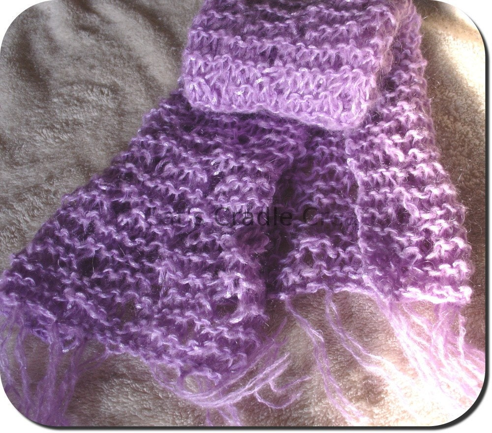 Lilac Mohair Knitted Lace Scarf