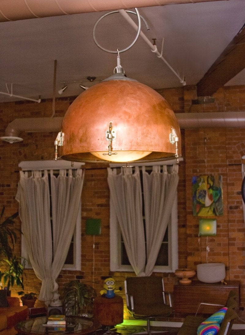 Reserved Listing for Nichole.  Copper Timpani Drum Hanging Lamp