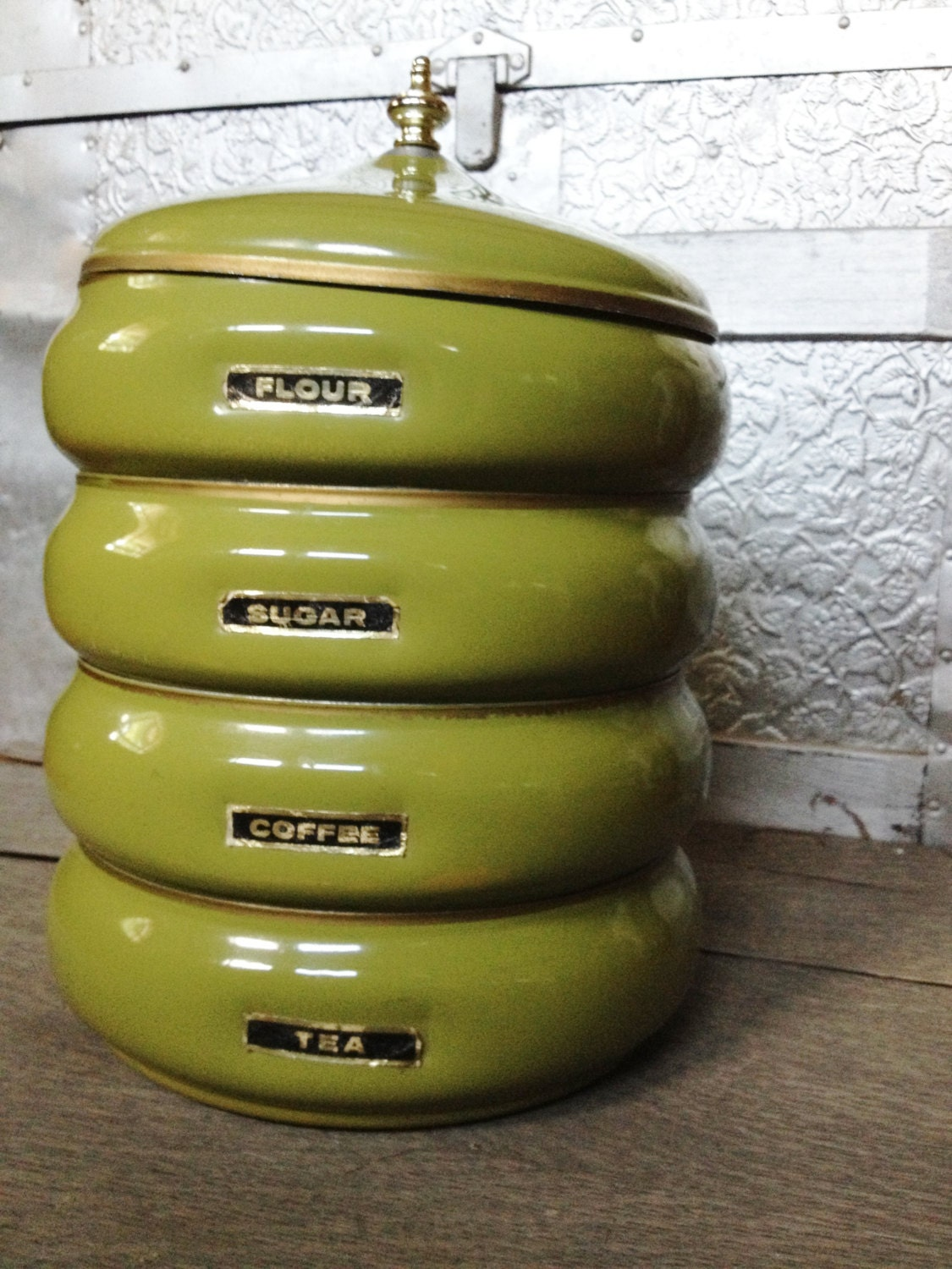 vintage metal kitchen canister set by crescenthouse on etsy