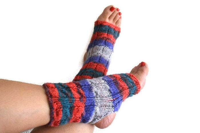 Colorful toeless yoga socks sockspilatesflip by NesrinArt