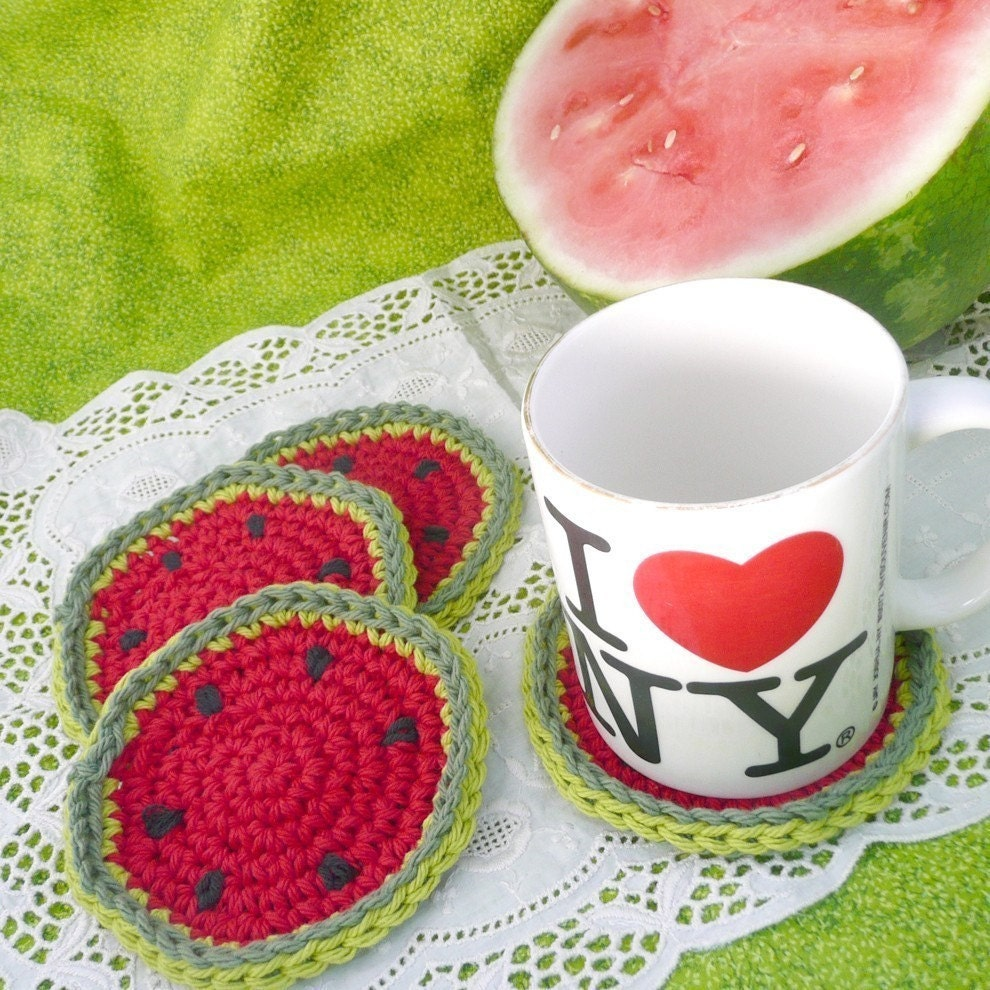 2nd Gen Watermelon Coaster Set of 4 in Cotton