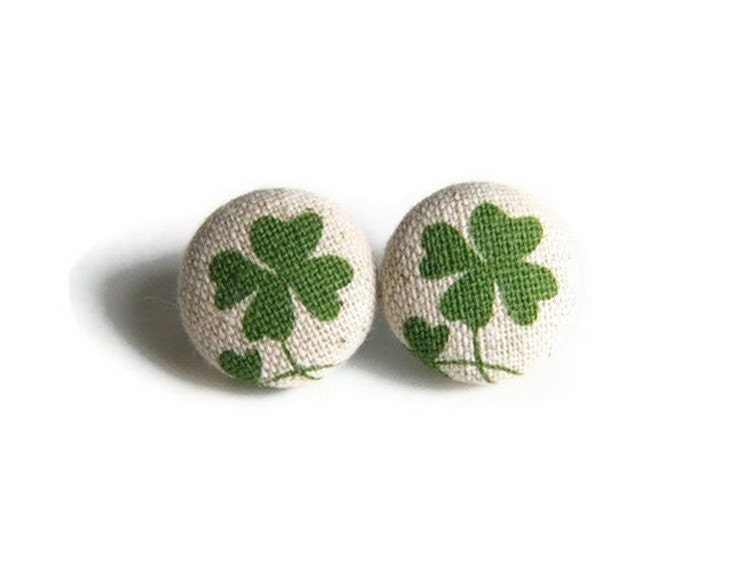 Button Earrings Green Clover Fabric Button - JoannaBizu