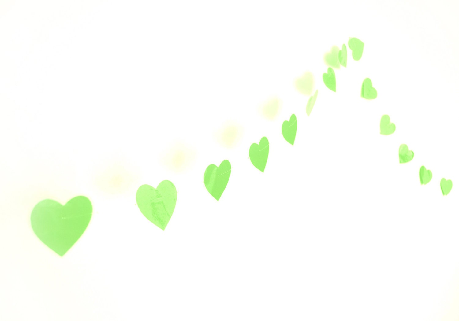 Laminated garland with paper green hearts, water resistant - VeraPaperLab