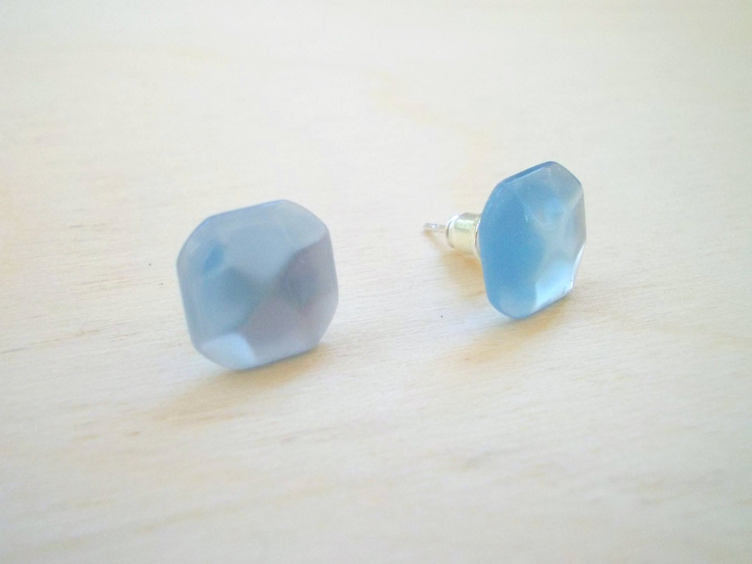 Blue Earring Posts , Light Blue Tiny Cube Earrings Studs , Geometry Fashion, Everyday Jewelry, Under 15 20 25 - EfZinCreations