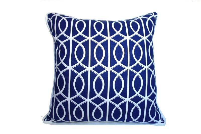 Blue and white lattice pillow, coastal pillow,  bella porte in twilight