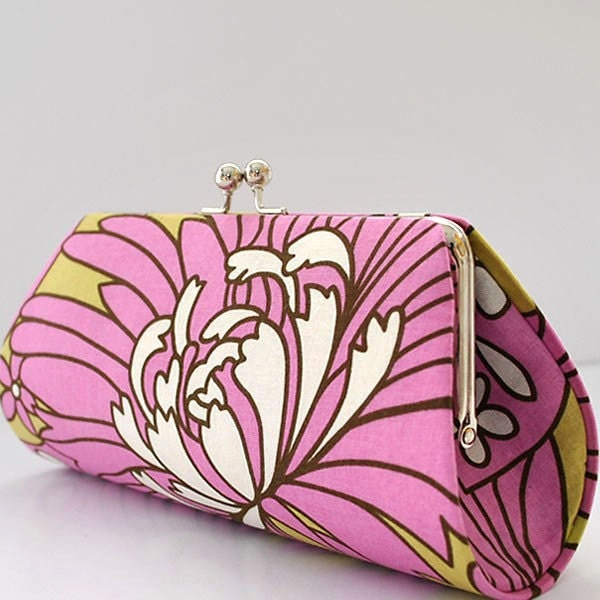 Wildflowers in Rose by Amy Butler..Dianita Clutch Purse