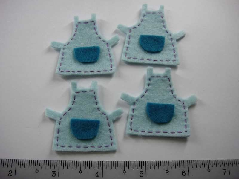 Felt Applique - APRON - 4 PCS - Handmade