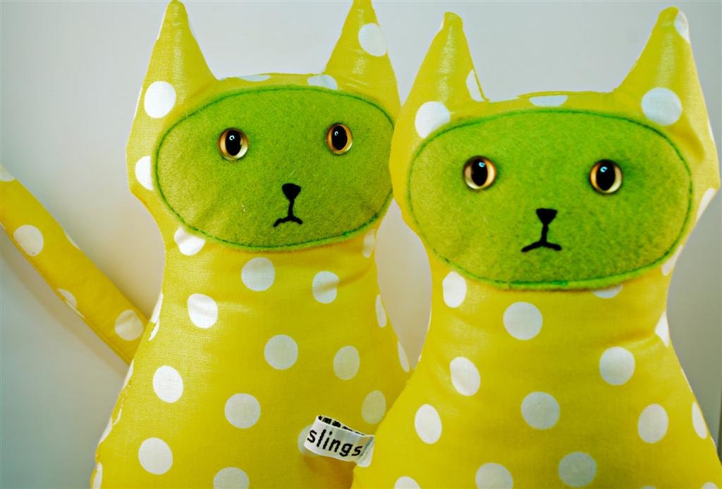 Plush Toy , Polka Dot Cat, Vegan Friendly, Lime Green