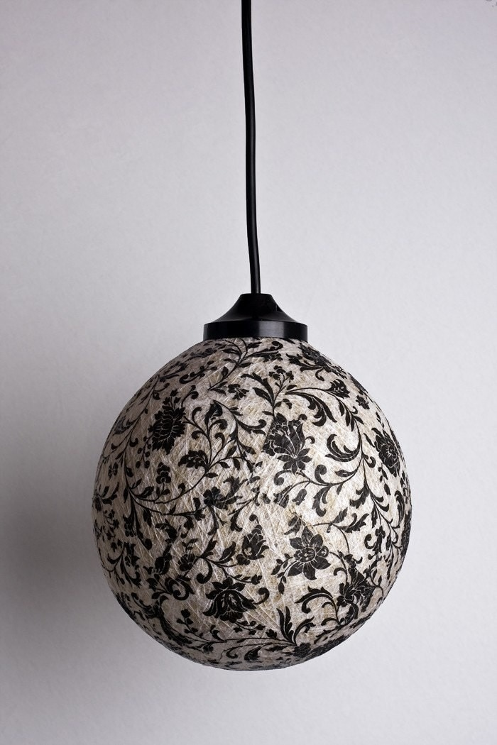Black romance Round ceiling pendant lamp OOAK by FiligreeCreations from etsy.com