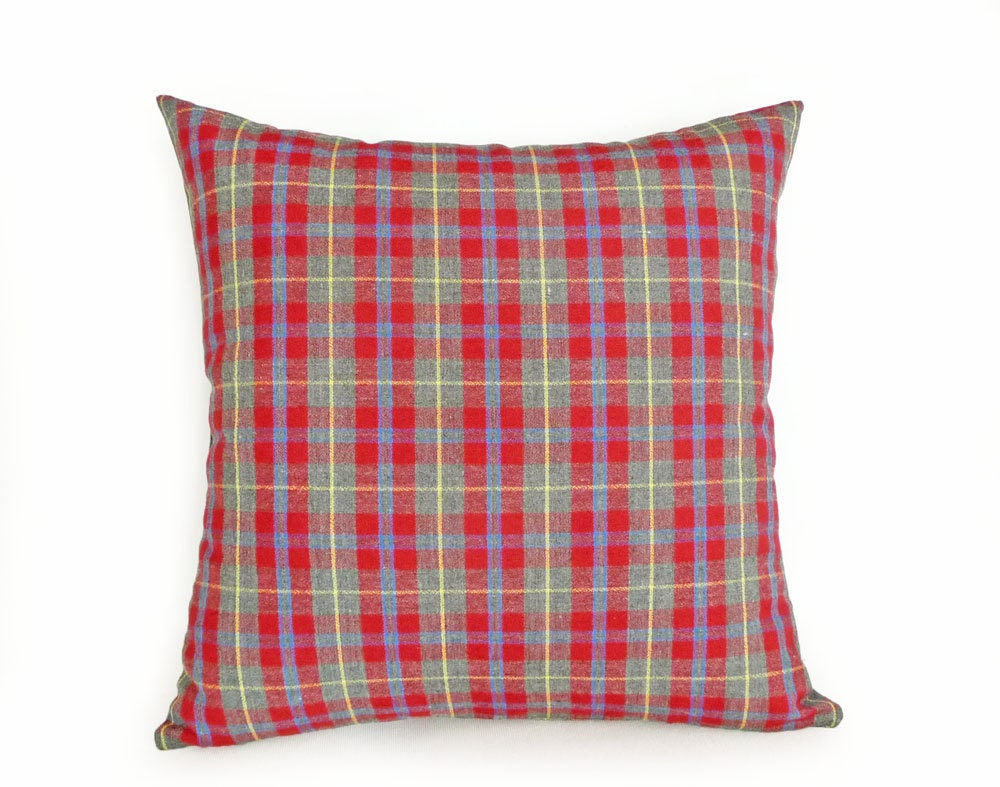 Decorative Plaid Pillows : Red Grey Plaid Pillow Decorative Throw Pillows by PillowThrowDecor