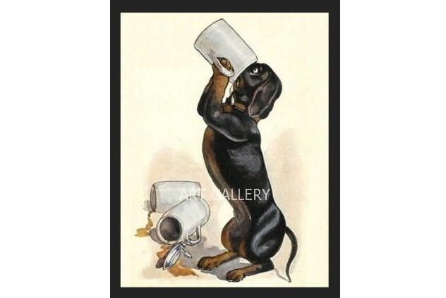 DACHSHUND  Drinks BEER 3 Mugs Bier  Ulrich Weber Vintage Art Print MAGNET - VintageDachshundArt