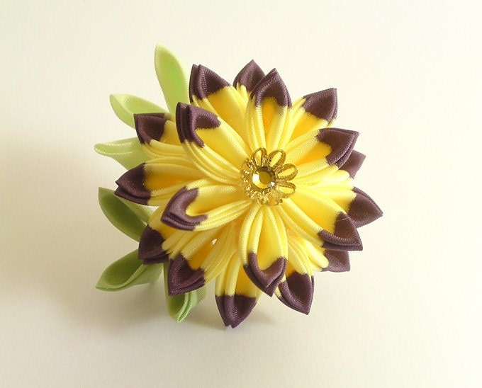 Purple Yellow Fabric Flower Kiku Chrysanthemum Kanzashi Hair Fork