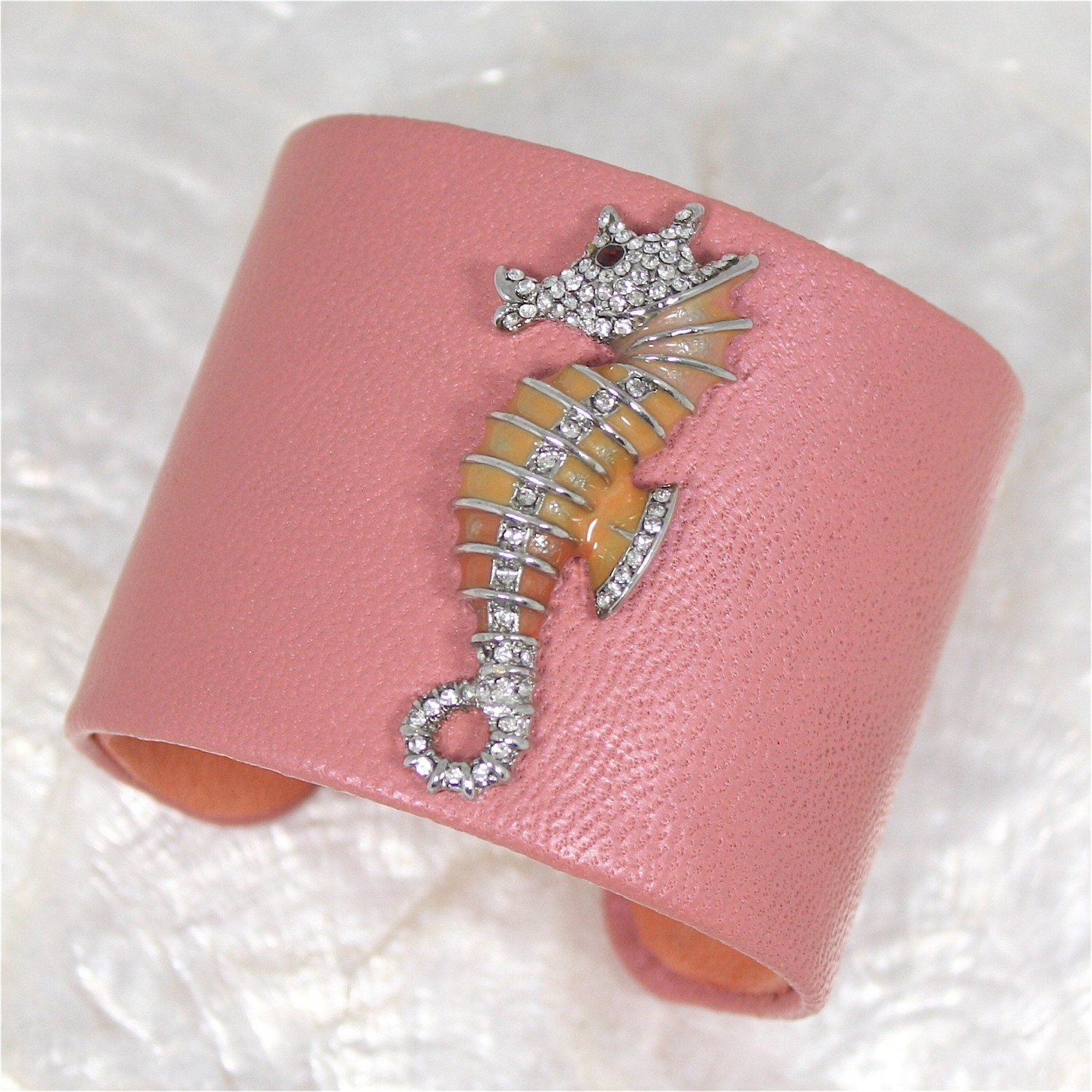 Pink Seahorse Leather Cuff Bracelet- Limited Edition