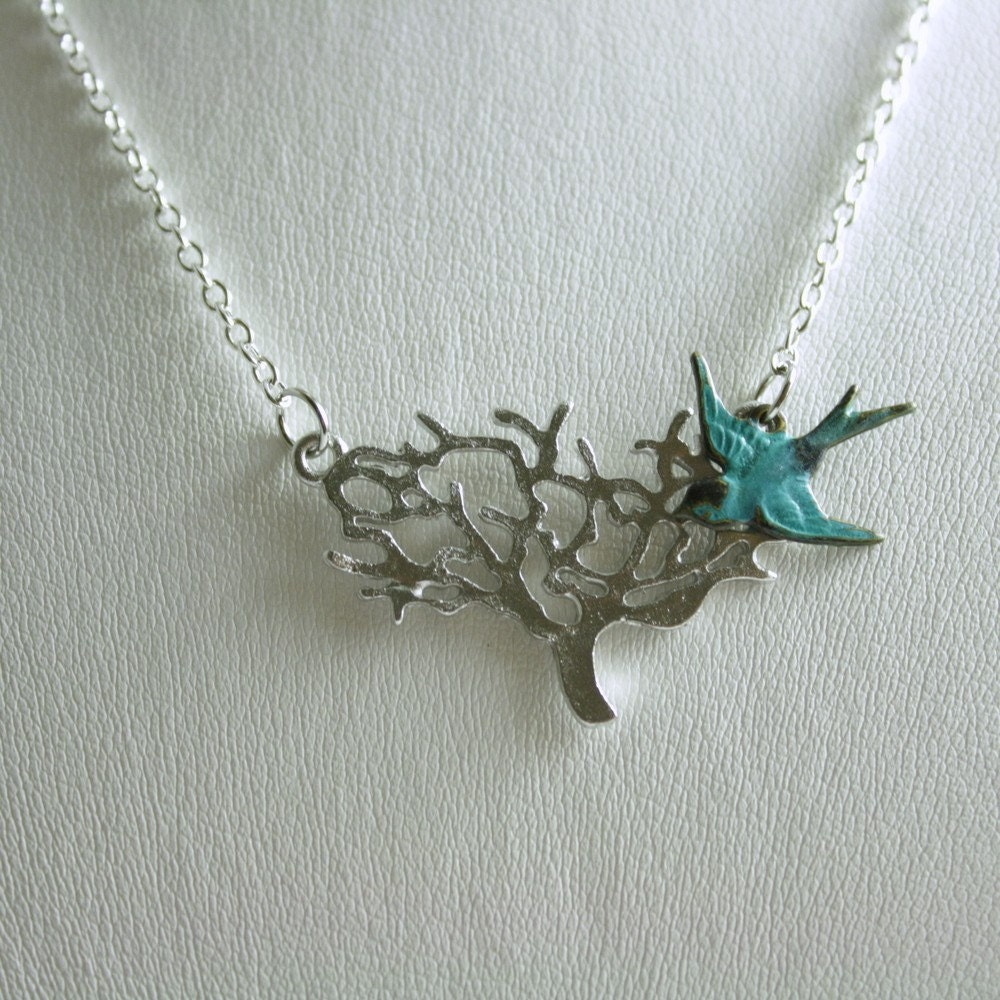 New Home- Mod Bird and Branch necklace in Silver