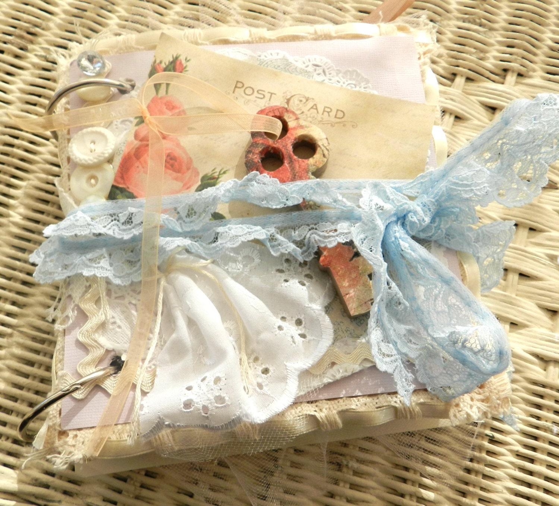 wedding planner journal- shabby chic - guest book alternative  - scrapbook - embellished handmade journal - smashbook - SouthernShabbyGal