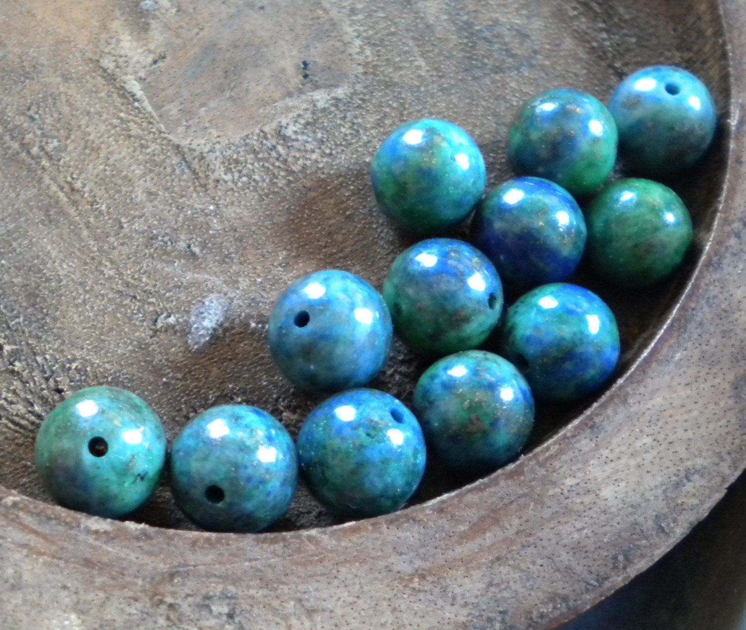 AWESOME Lapis and Chrysocolla Rounds, 8mm