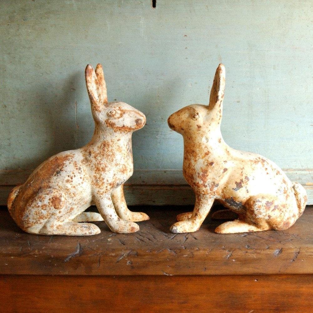 Shabby Architectural Aged Cast Iron Rabbit Garden Statue